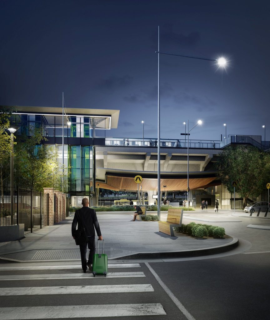 NWRL Rouse Hill Northwest Rail Link Sydney Metro 3D rendering 3D visualisation Virtual Reality Prototype 3D Prototyping architectural visualisation fly-through flythrough animation 3d render infrastructure design rail road public transport digital 3D model future architecture visual communication video production computer generated imagery CGI Exterior interior renderings animated walk-throughs fly-overs High quality photo-realistic